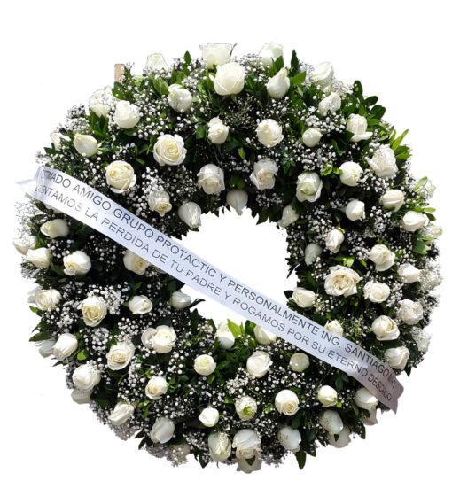 Corona Funeraria de rosas blancas