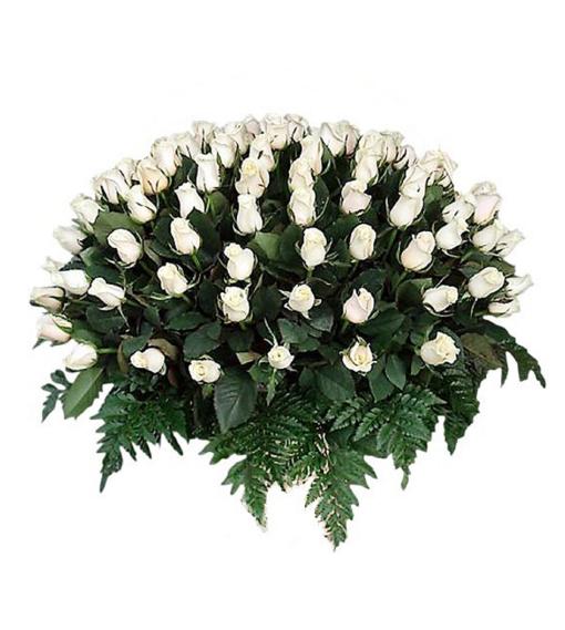 arreglo fúnebre de 100 rosas